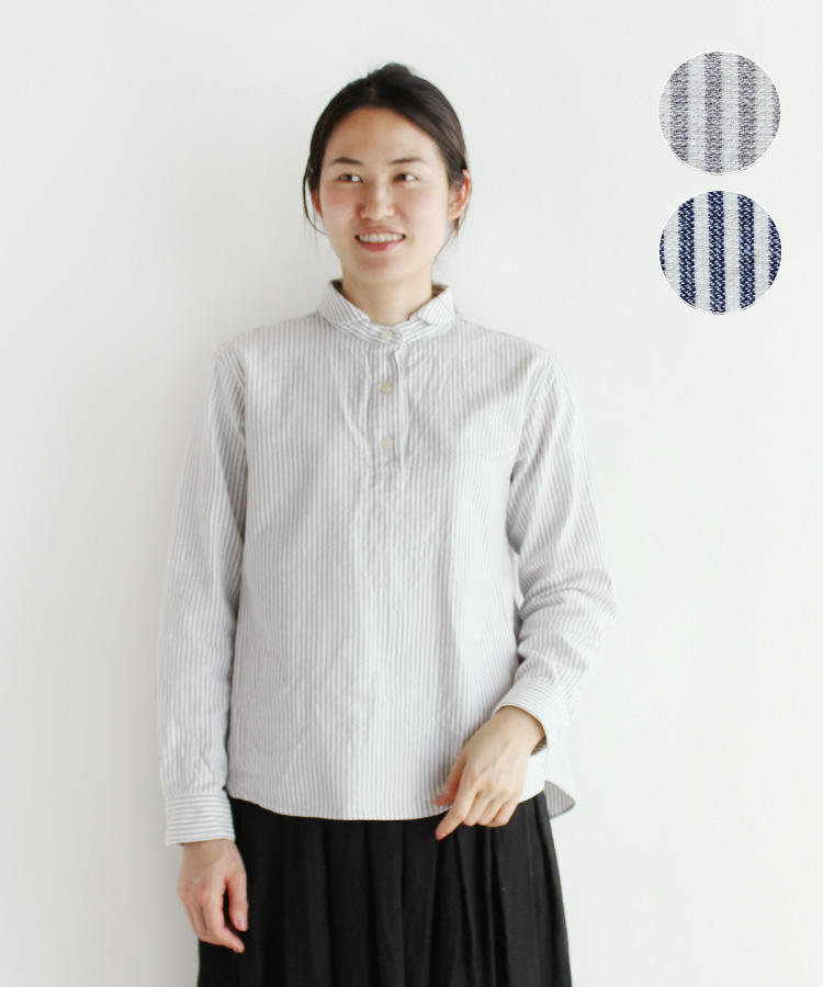 【nofl】今治生地ストライプシャツブラウス