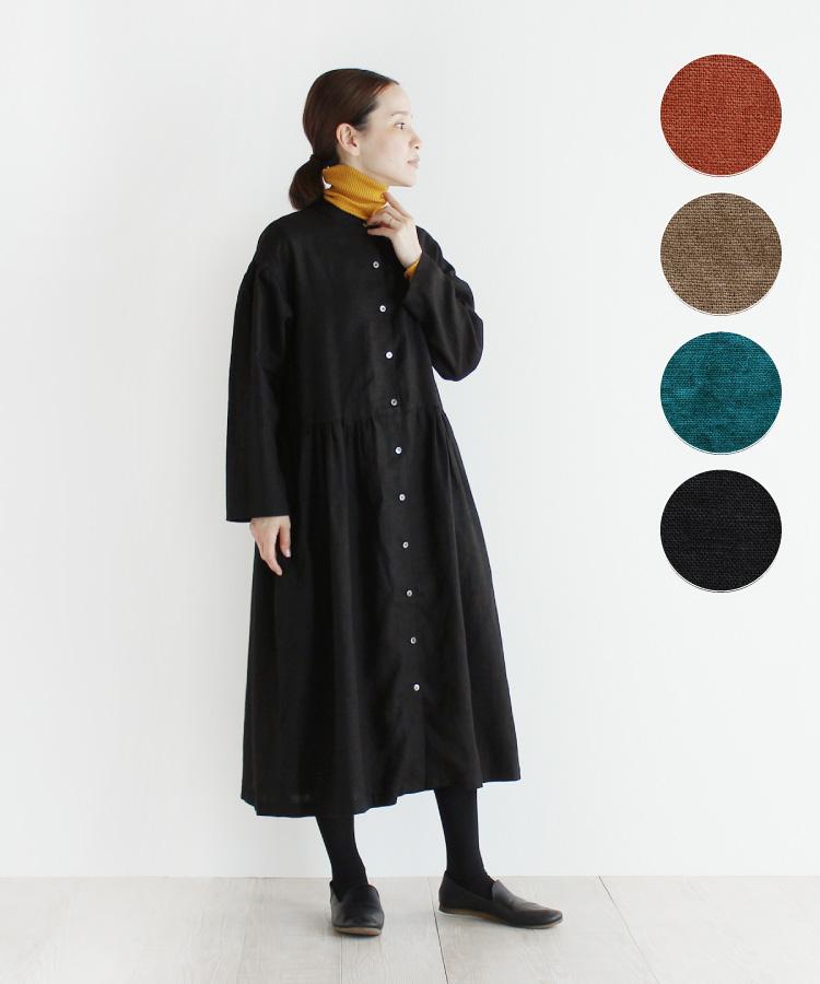 【nofl】リトアニアリネンスタンドカラー前あきワンピース