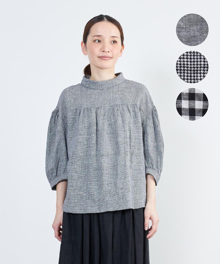 【nofl】リトアニアリネンモノトーンブラウス