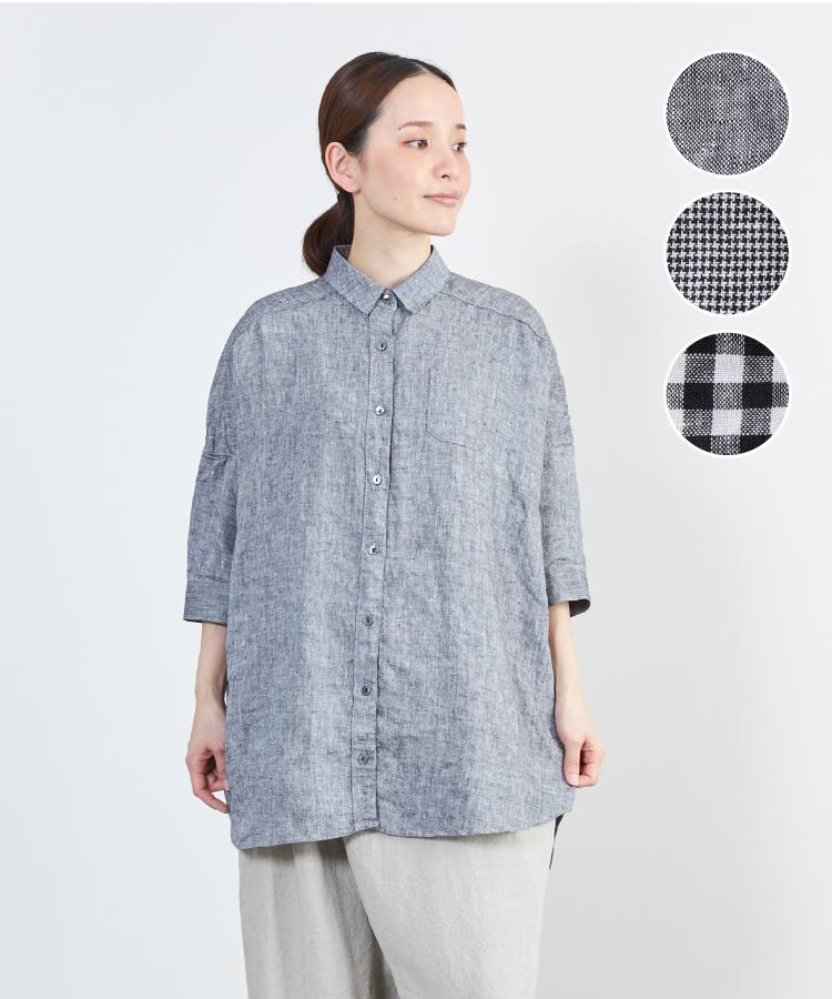 【nofl】リトアニアリネンモノトーンビッグシャツ